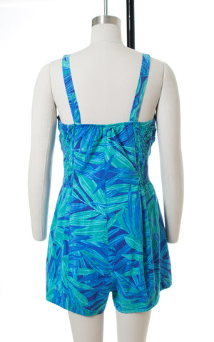 1960s Tropical Leaf Print Blue Cotton Romper
