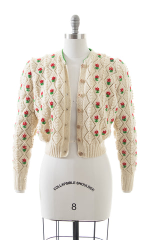 1940s 1950s LANZ Floral Popcorn Knit Wool Cropped Cardigan