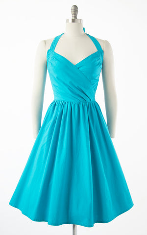 1990s does 50s Turquoise Halter Button Back Sundress | small