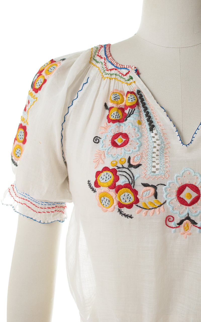 1930s Floral Embroidered Sheer Peasant Top
