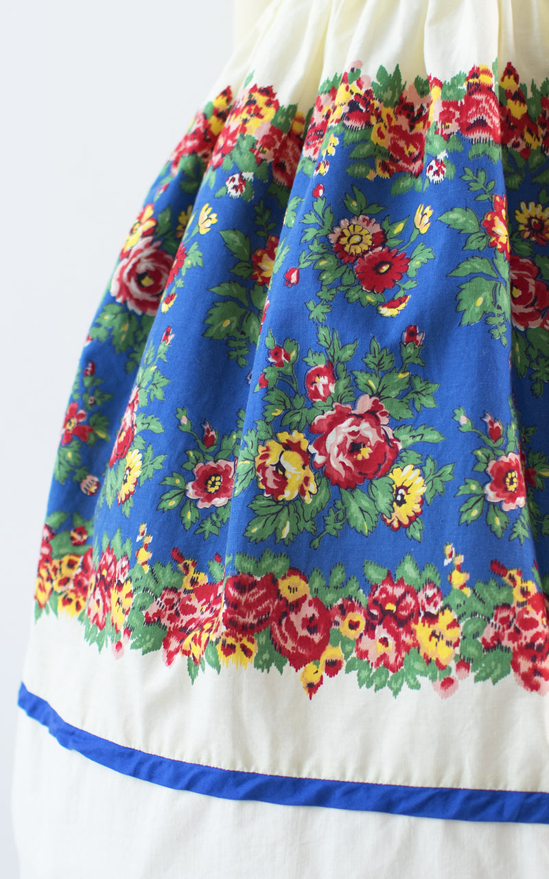 SOLD || 1960s Rose Border Print Cotton Skirt | small