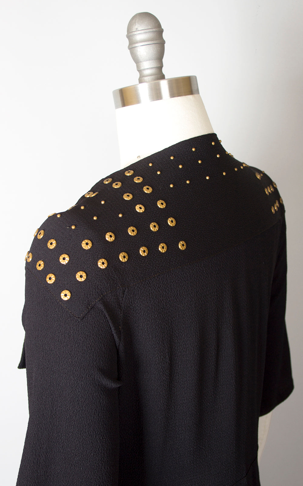 1930s Brass Studded Black Rayon Crepe Cocktail Dress | small