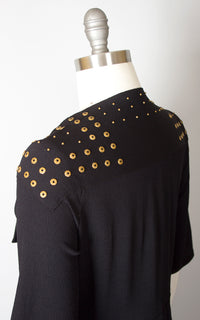 ♦ SOLD ♦ 1930s Brass Studded Black Rayon Crepe Cocktail Dress | small