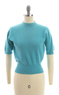 1950s Blue Knit Cashmere Sweater