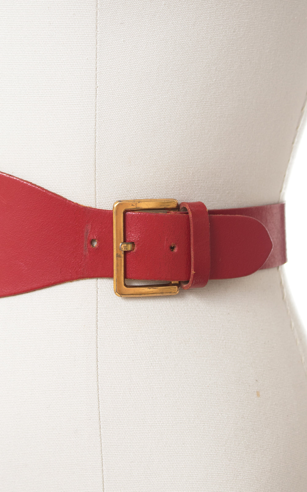 1950s Double Buckle Red Leather Cinch Belt
