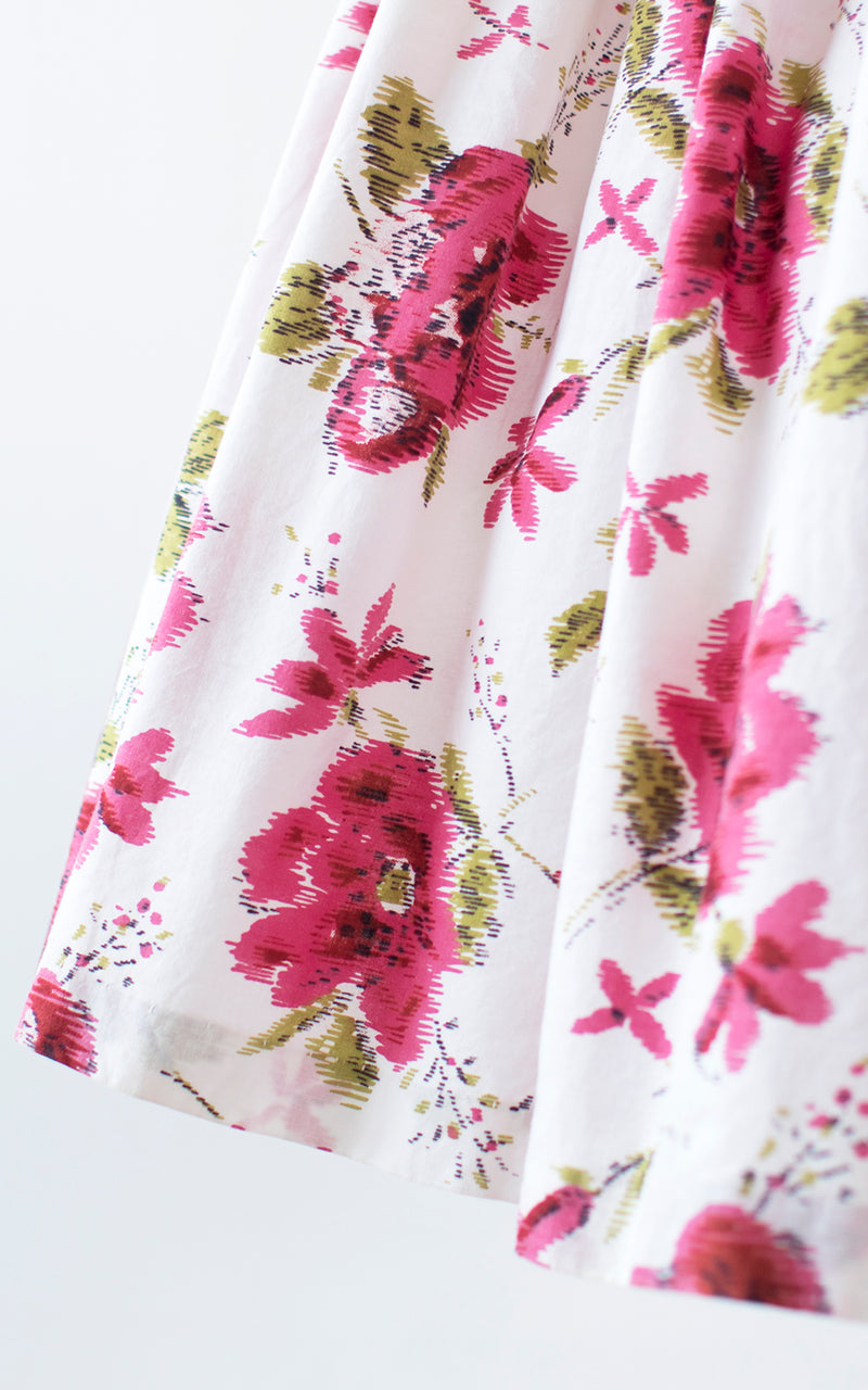 $50 & UNDER SALE || 1950s Pink Floral Cotton Pleated Skirt | xx-small