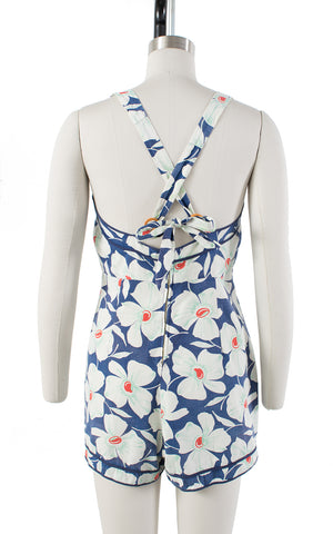 1930s Floral Blue Cotton Romper