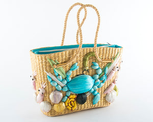 1960s Crab Sea Creatures Novelty Straw Handbag