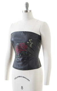1980s Rose Print Black Leather Tube Top