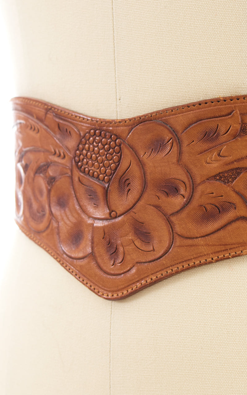 1970s Floral Tooled Leather Double Buckle Cinch Belt