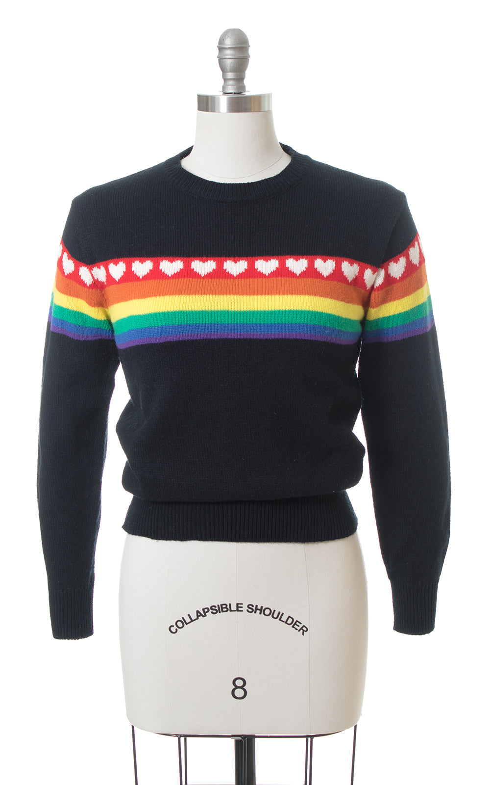1990s Hearts & Rainbow Novelty Print Knit Sweater Top