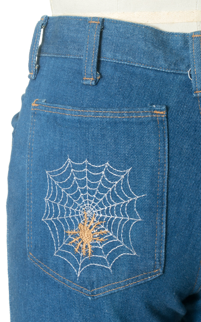 1970s Wrangler Spider Web Embroidered Bell Bottom Jeans | x-small/small