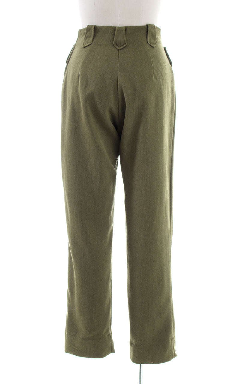 1950s H BAR C Olive Green Wool Twill Western Pants