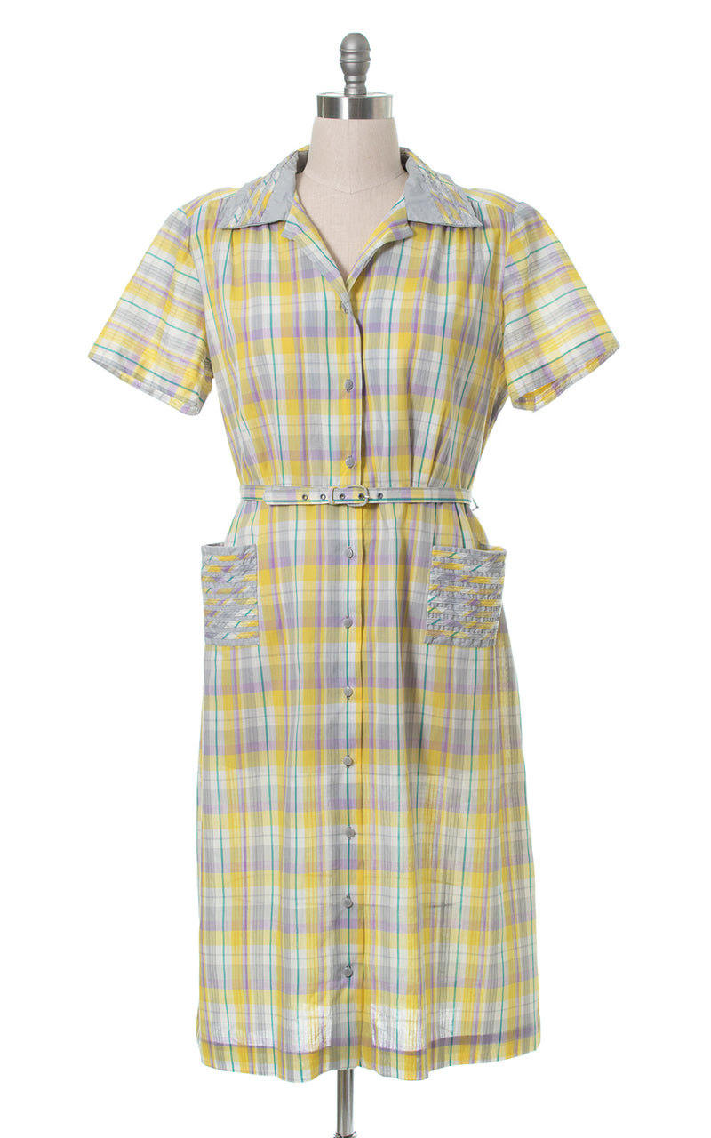 1950s Deadstock Plaid Shirtwaist Dress