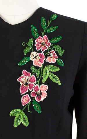1940s Floral Sequin Beaded Black Rayon Blouse | medium