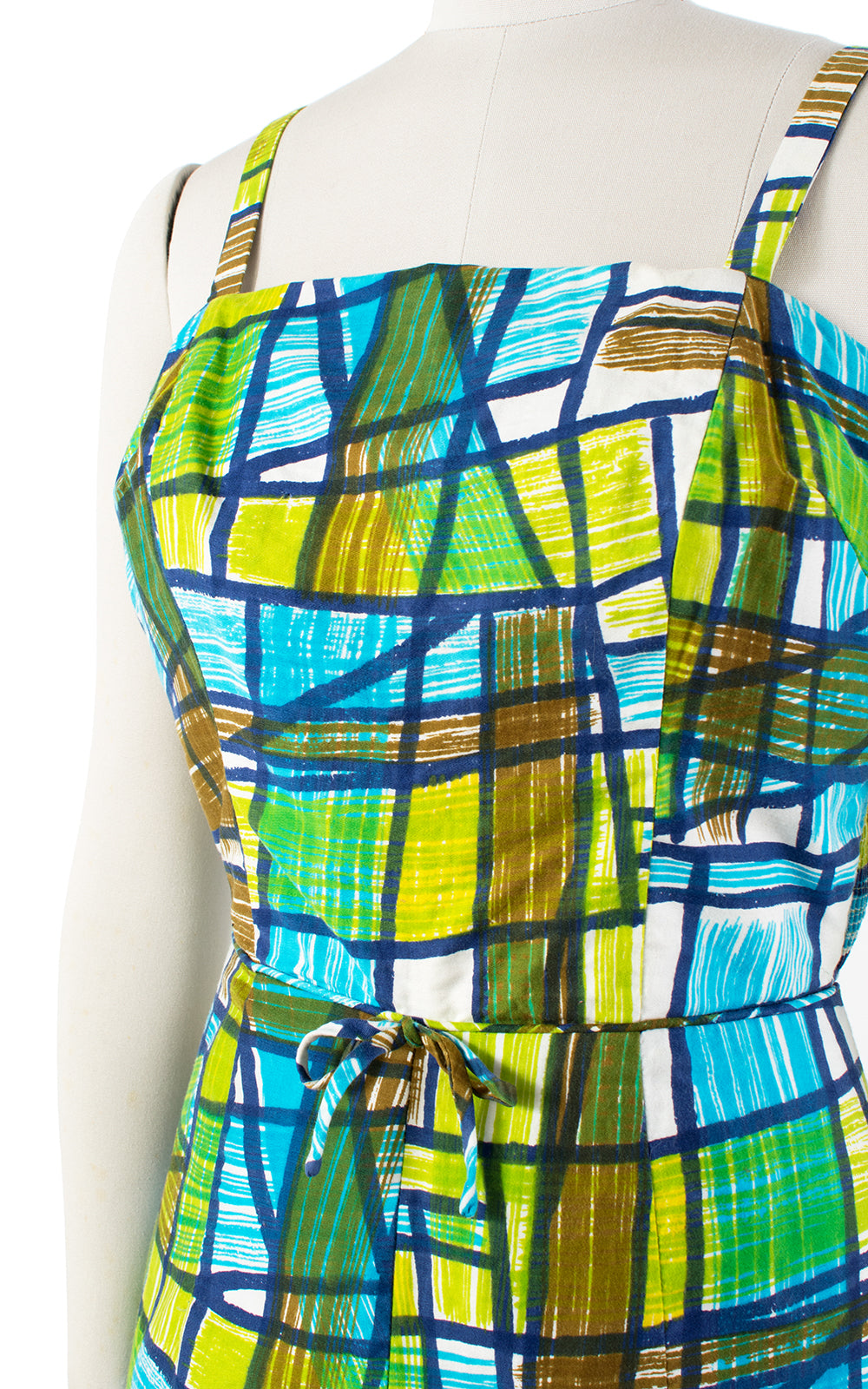 1960s Geometric Mosaic Cotton Romper