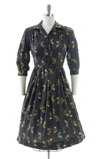 1950s Antique Phone Novelty Print Shirtwaist Dress | small/medium