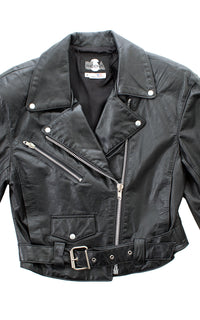 1990s Cropped Leather Moto Jacket BirthdayLifeVintage