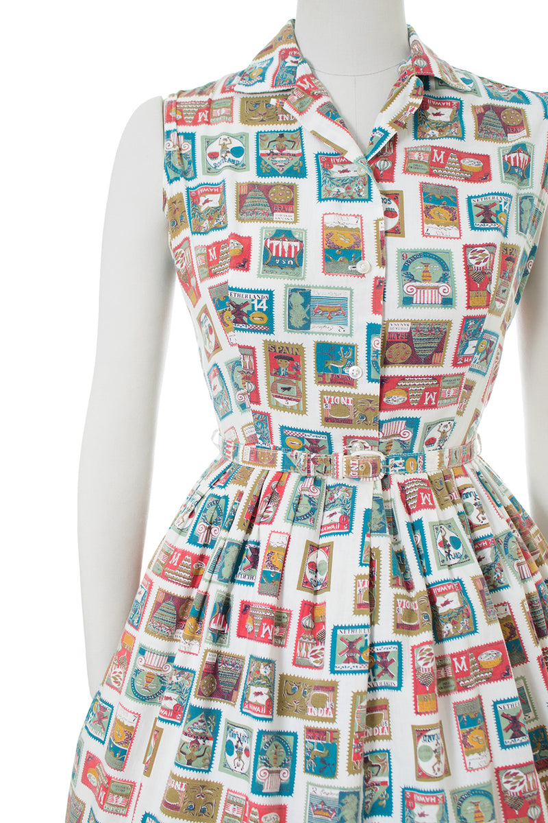 1950s Stamps Novelty Print Cotton Shirt Dress
