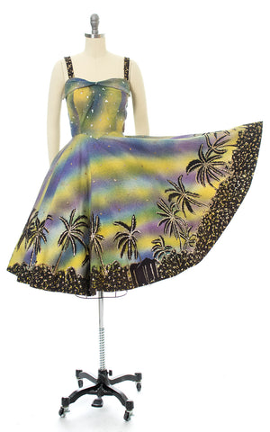 1950s Mexican Sequined Hand-Painted Palm Tree Border Print Striped Cotton Circle Skirt Sundress