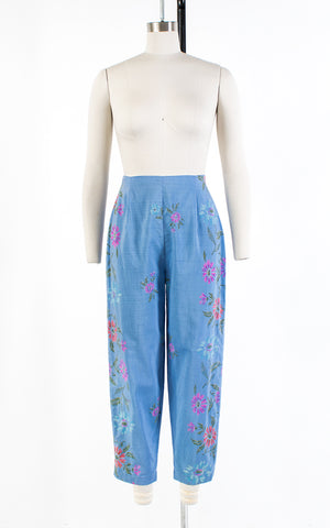 1950s Floral Blue Cotton High Waisted Capri Pants | small