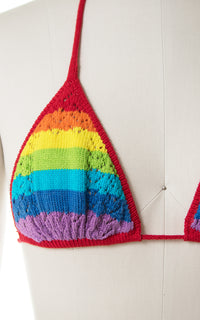 1980s Rainbow Crochet Knit Triangle Halter High Cut Bikini