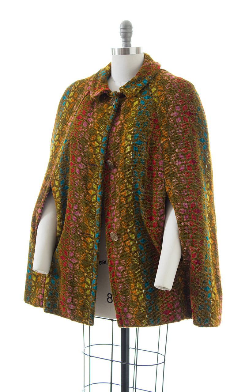 1960s 1970s Rainbow Striped Brocade Cape with Faux Fur Lining