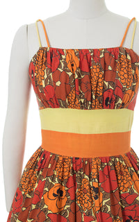 1950s Pansy Floral Color Block Orange Cotton Sundress
