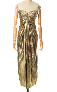 1980s Liquid Gold Strapless Party Dress & Jacket Set