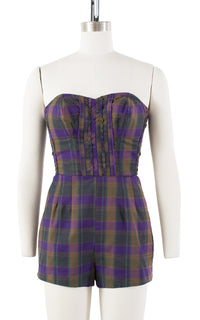1950s Purple Plaid Cotton Romper | small