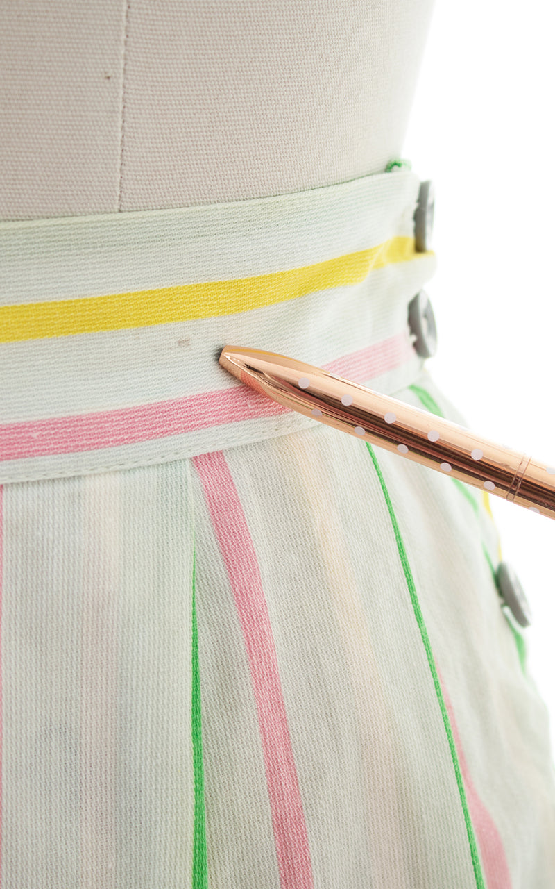 1940s Striped Cotton Pleated Shorts
