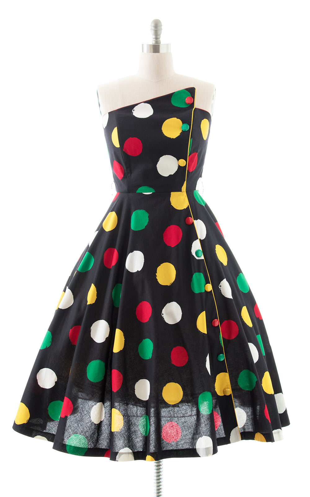 1980s Polka Dot Strapless Sundress with Pockets BirthdayLifeVintage