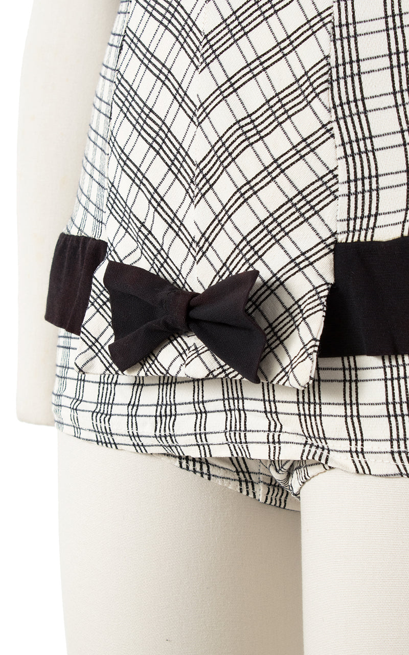 SOLD || 1950s Plaid Bow Swimsuit | x-small/small