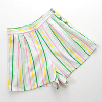 1940s Striped Cotton Side Button Shorts | small