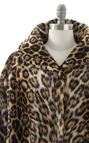 1950s Leopard Print Faux Fur Swing Coat