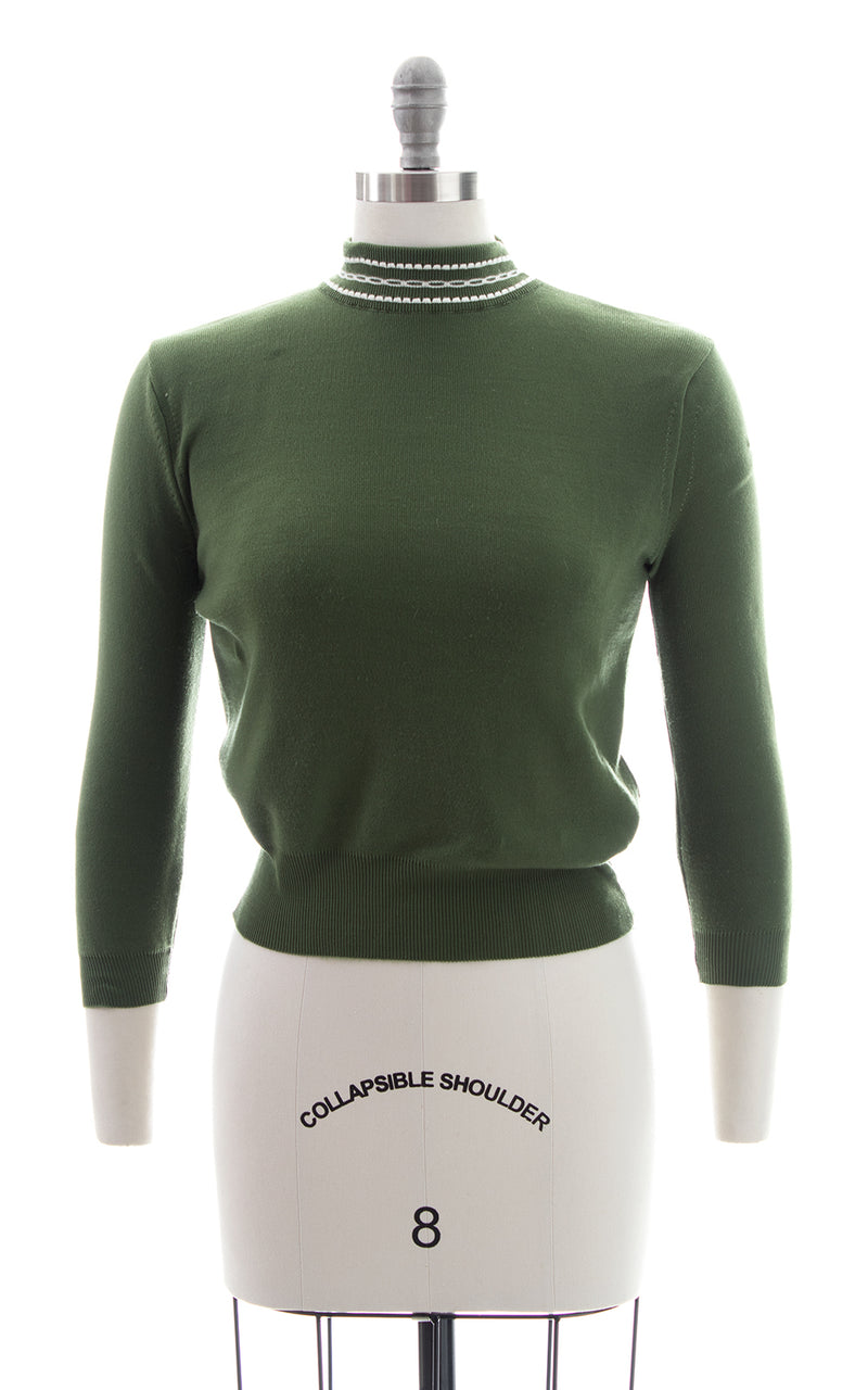 1950s Forest Green Knit Sweater