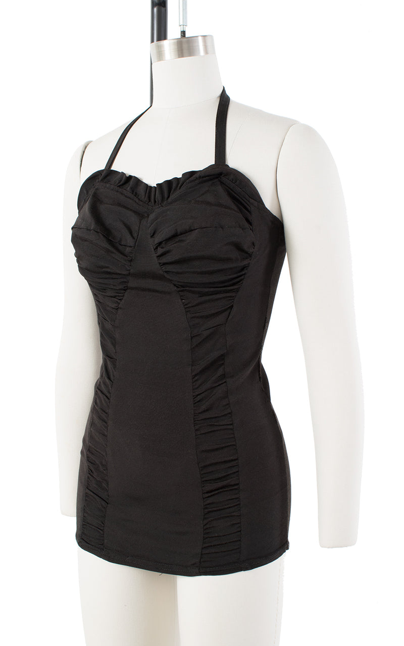 1950s Ruched Black Halter or Strapless Swimsuit