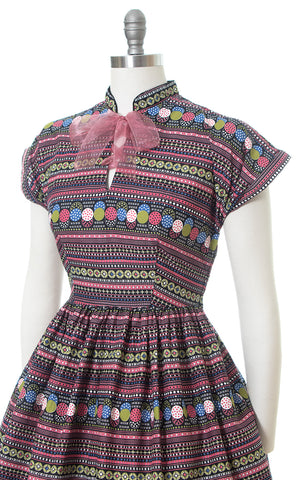 1950s Polka Dot Striped Colorful Cotton Day Dress