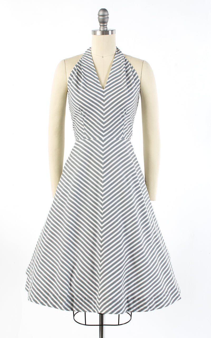 1950s Chevron Striped Cotton Halter Sundress | small
