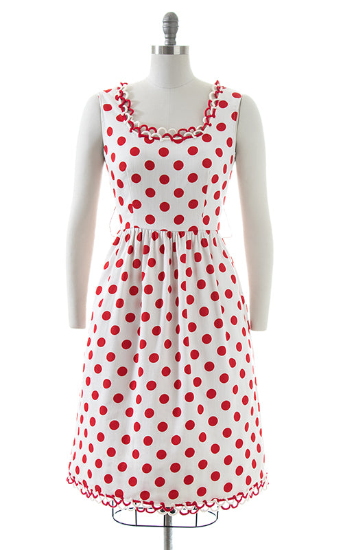 1970s OSCAR DE LA RENTA Polka Dot Cotton Sundress | small/medium