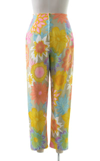 1960s Colorful Floral Cotton High Waisted Pants