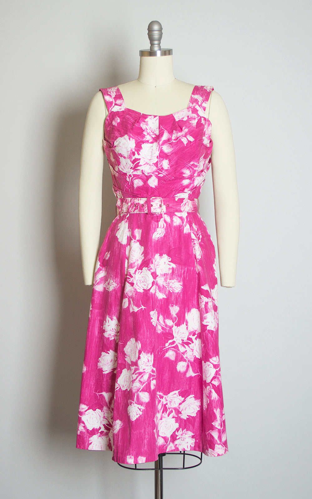 $50 & UNDER SALE ||  1950s Pink Rose Cotton Sundress and Bolero Set | x-small