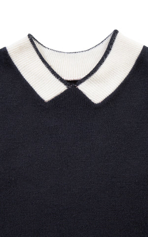 1950s Faux Peter Pan Collar Knit Sweater Top