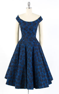 1950s Floral Damask Off the Shoulder Party Dress | x-small