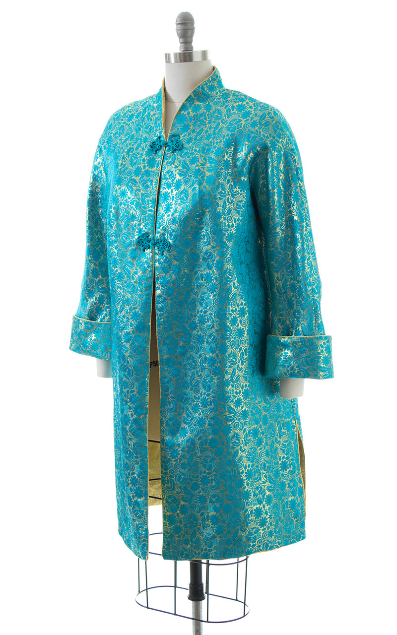1950s REVERSIBLE Metallic Floral Brocade Evening Coat