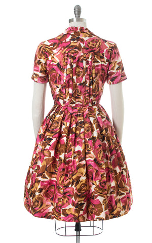 1950s Rose Print Cotton Shirtwaist Dress