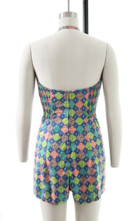 1950s Floral Medallion Cotton Halter Romper