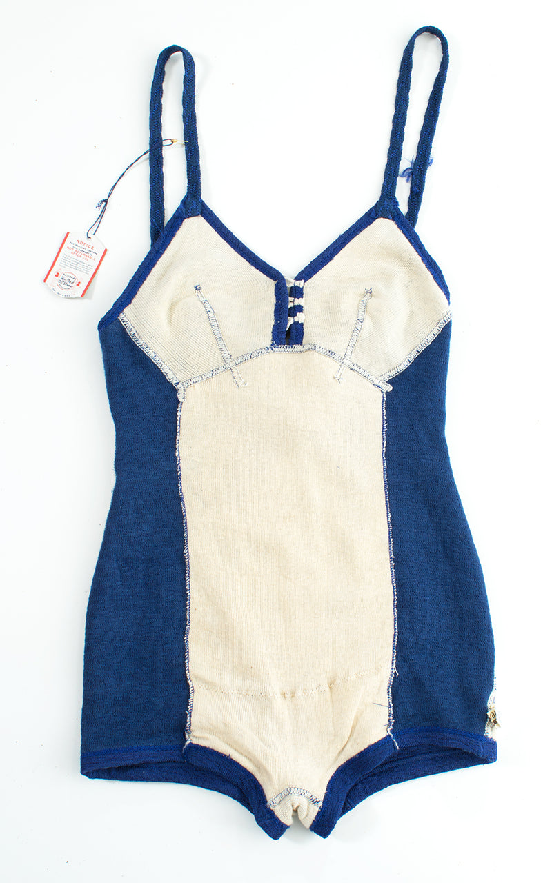 1930s Deadstock Blue Knit Strappy Open Back Swimsuit