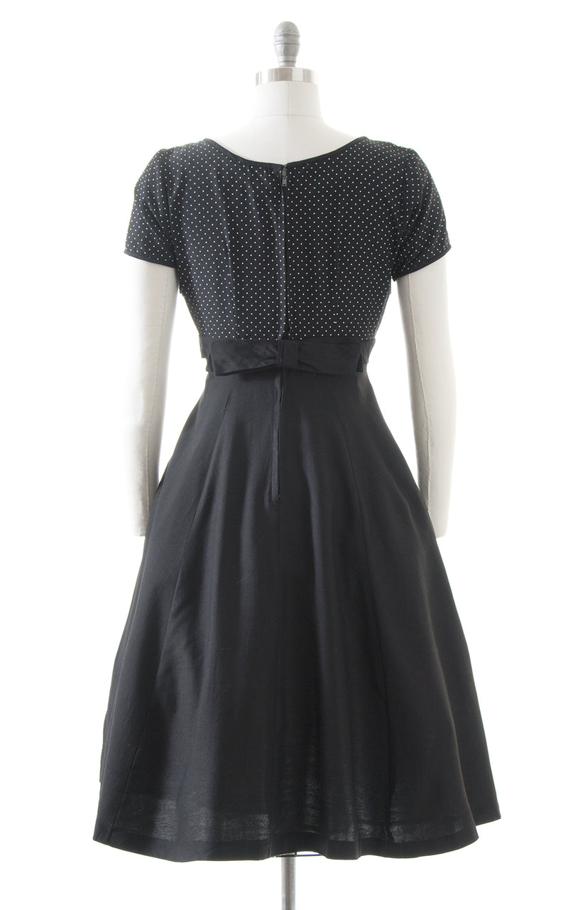 1950s Polka Dot Black Swing Dress