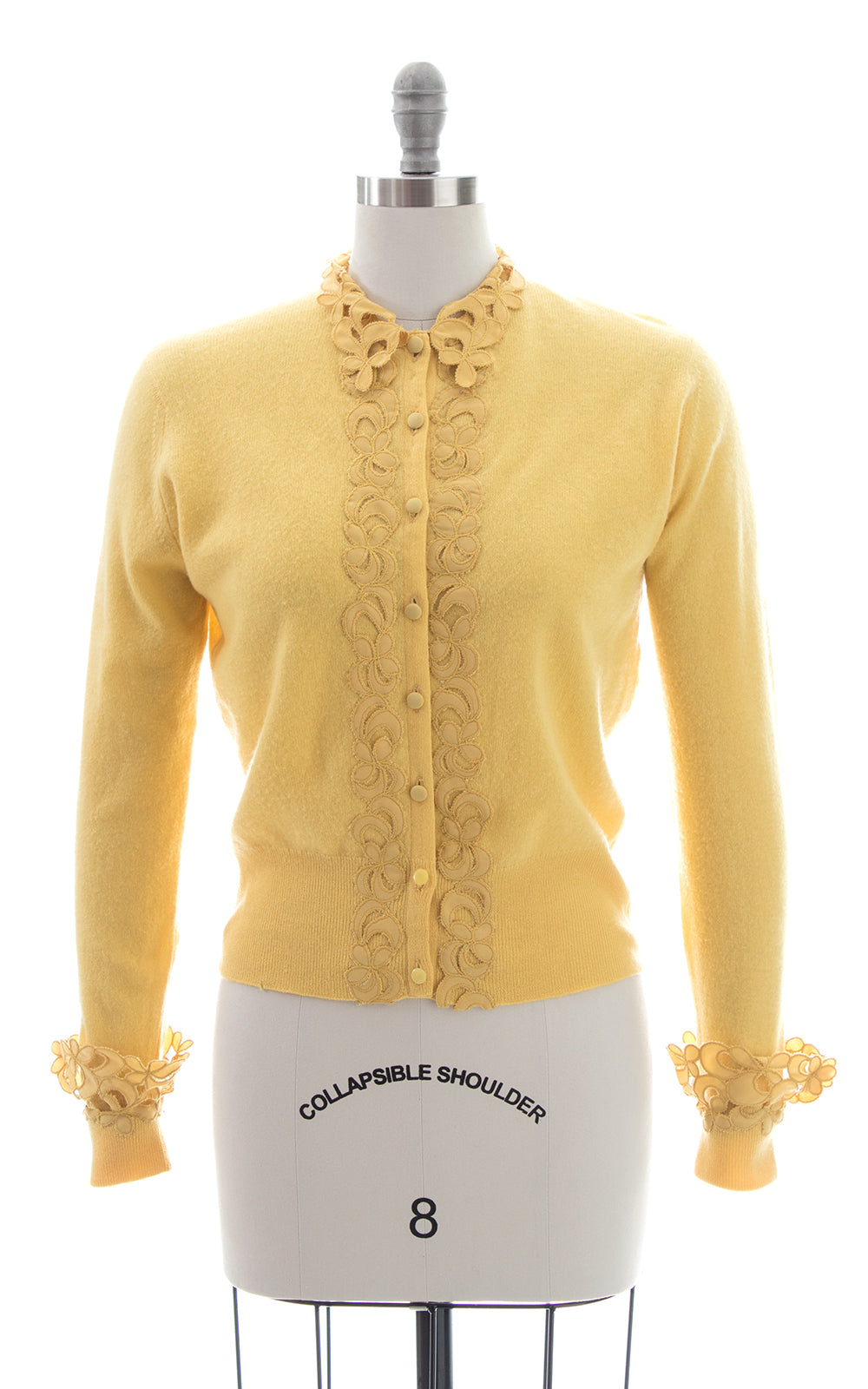 1950s Marigold Cashmere & Lace Cardigan